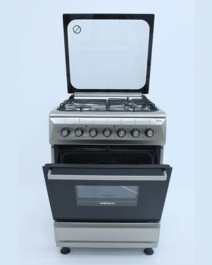 ARMCO GC-F6631QX(SS) - 3 Gas+ 1 Electric, 60x60 Gas Cooker, Mechanical Timer, Tempered Glass Lid.