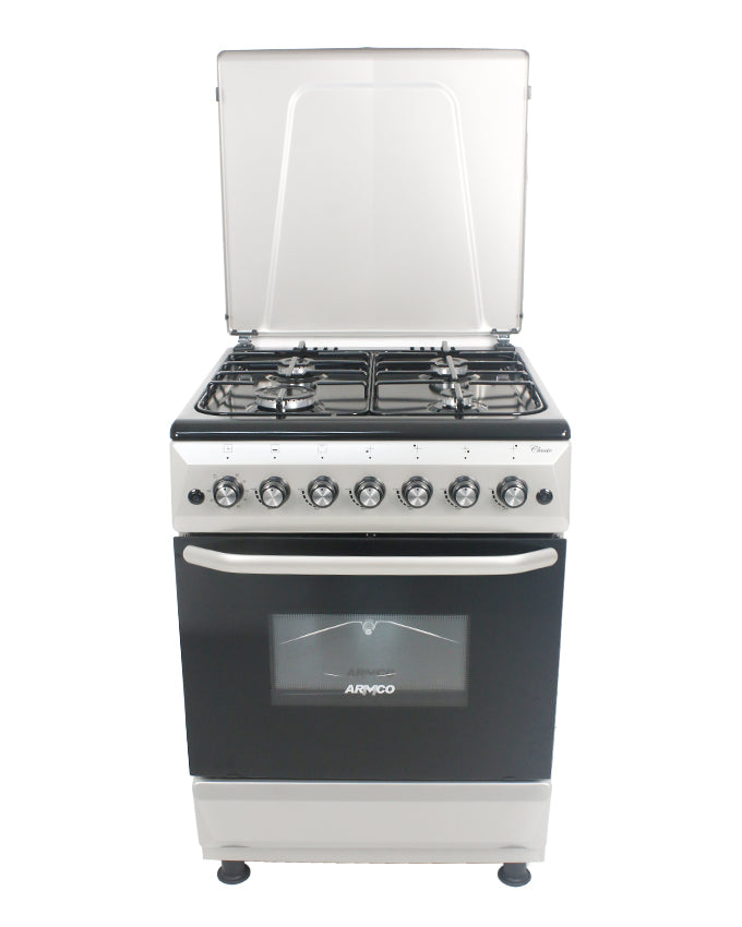 ARMCO Standing cooker GC-F6640FX(SL) in Kenya 4 Gas, Gas Oven/Grill, 60x60 Gas Cooker, Silver