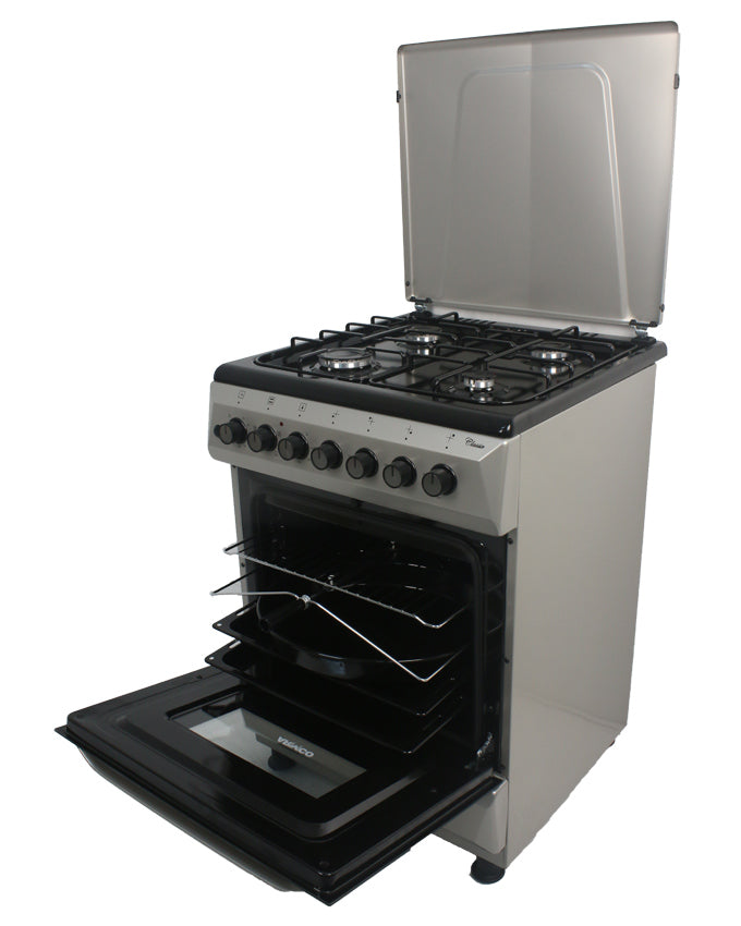ARMCO GC-F6640MX(SL) - 4 x Gas, Electric Oven/Grill, 60X60 Gas Cooker, Silver.