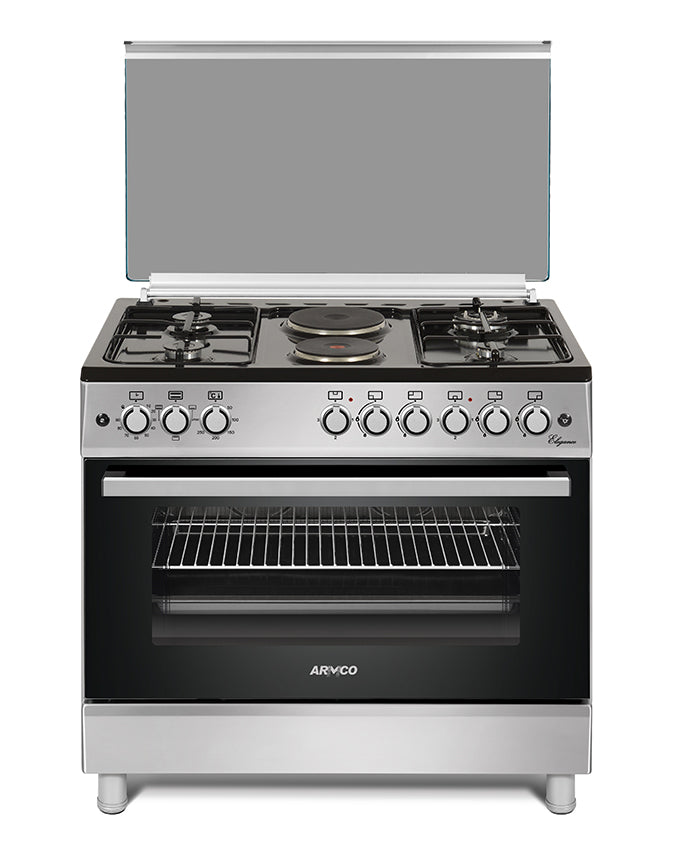 ARMCO GC-F9642JW(SL) 4 Gas + 2 Electric Burners ,60x90, Convection Oven, Sabaf Burners, Rotisserie, Mech. Timer.
