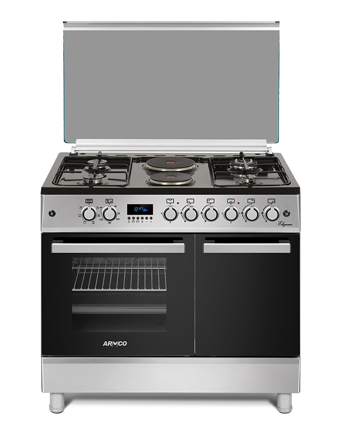 ARMCO GC-F9642ZBT(SL) - 4 Gas, 2 Electric, 60x90 Gas Cooker, Rapid Hot Plate, 1 Triple Wok Burner , Sabaf Italian Burners, Rotisserie, Mechanical Timer, Silver.
