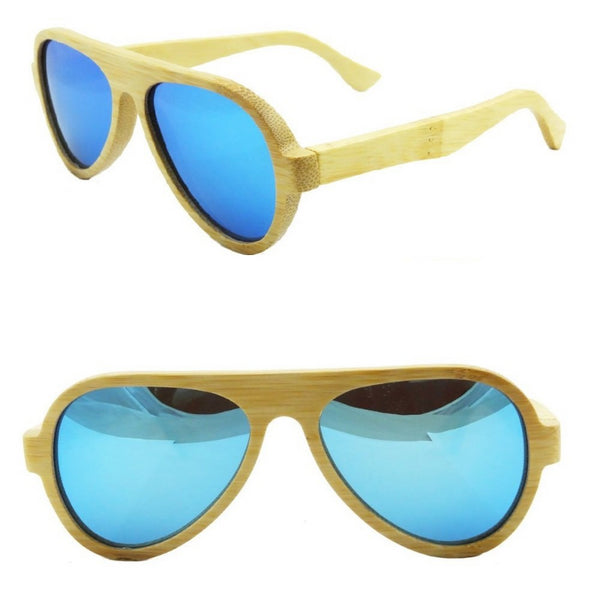 Awesome Classic Wood Ice Blue Sunglasses