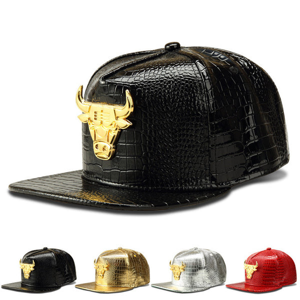 Leather Baseball Caps Hip Hop Style Bull Logo