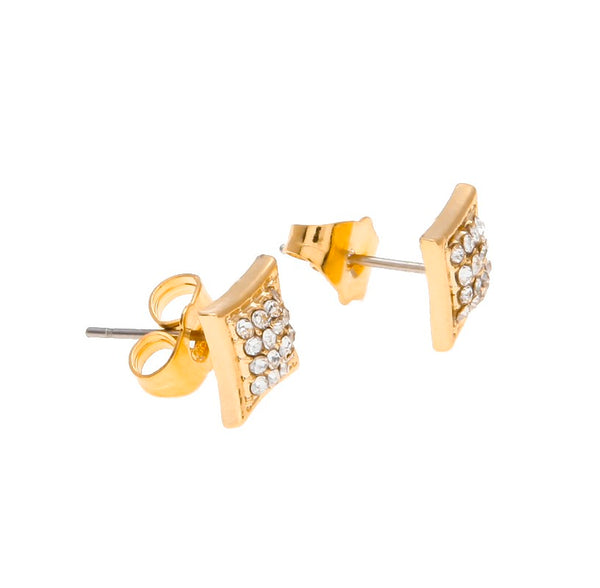 Classic Crystal Stud Earring Diamonds Square Screw Back