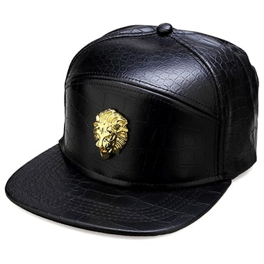 Gold Lion Head Logo Leather Baseball Hat