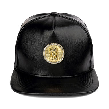 Christ Jesus Cap Black Leather