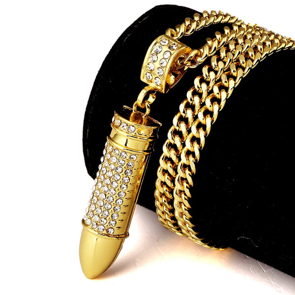 Golden Army Bullet With Rhinestone Pendants Necklaces Iced Out Chains
