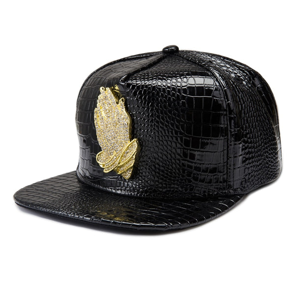 Praying Hands Logo Leather Casual Summer Snapback Hats