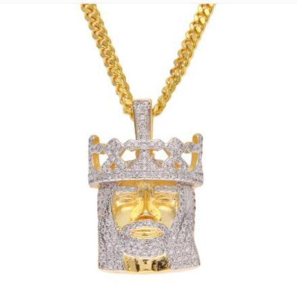 Crown Jesus Pendant Gold King Jesus