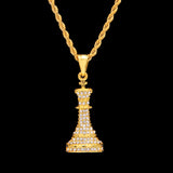 Chess Piece Pendant Necklace Full Iced Out Rhinestone 3D Charming