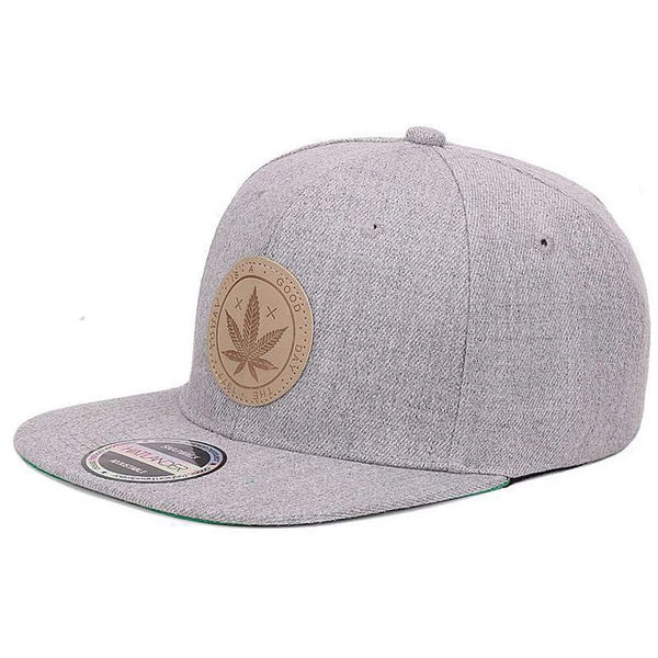 Hip Hop Cap Solid Pattern With Weed Logo