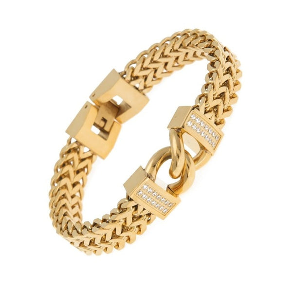 Classic Bracelet Fashion Gold&Steel Cuban Link Bangles