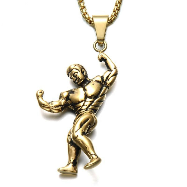 Titanium Stainless Steel Gym Bodybuilding Pendant Necklaces
