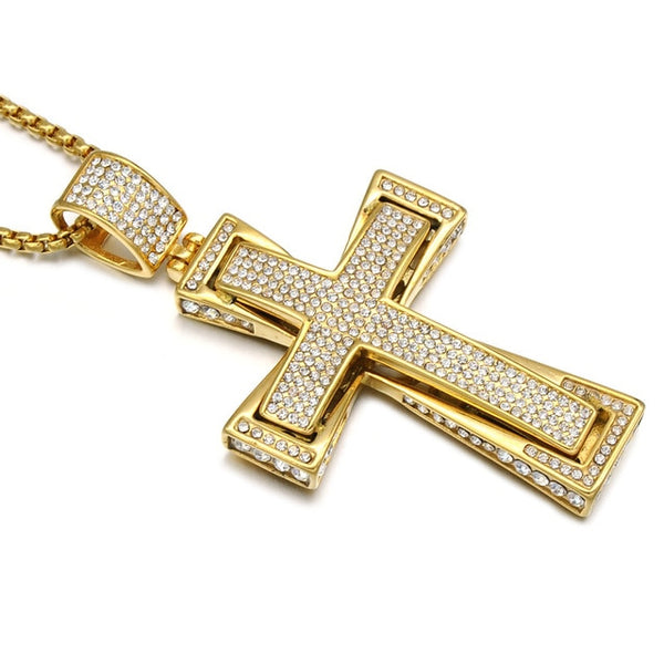 Iced Out Double Layer Cross Pendants Necklaces