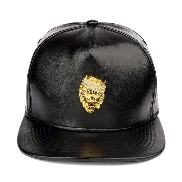 Luxury Hat Gold Rhinestone Crown Lion Head Baseball Caps