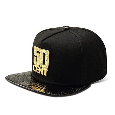 50 CENT Snapback Hats Bling Iced Out Gold