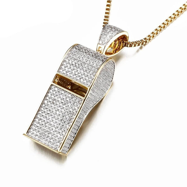 Whistle Pendants Gold/Silver Color Full Cubic Zirconia Stone Shiny!