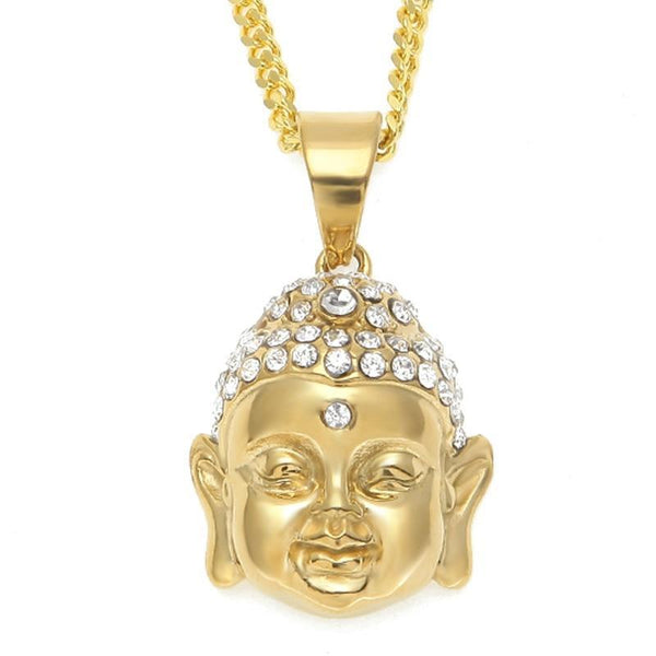 For Buddha Lovers ! Iced Out Buddha Head Pendant Full Of Crystal