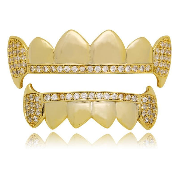 Teeth Grillz Top And Bottom Iced Out Nice Set