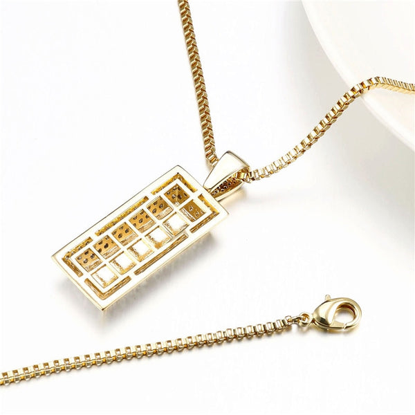 Gold Cube Bar Pendant High Polished