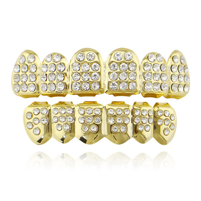 Awesome Gold/Silver Teeth Grillz Top And BottomTeeth Caps