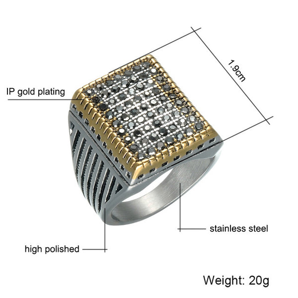 Crystal Ring Stainless Steel for Men