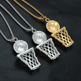 Bling Iced Out Basketball Necklaces Stainless Steel