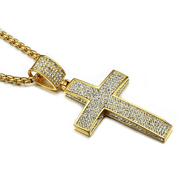 Iced Out Cross Crucifix Pendant For Christian With Chain