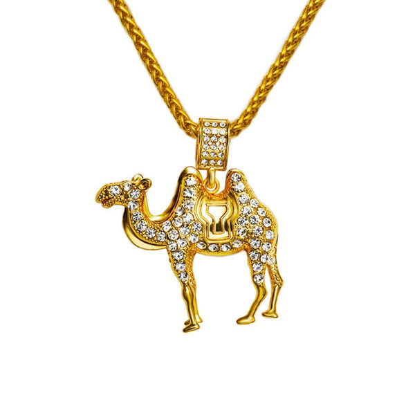Crystal Rhinestone Camel Pendants Golden