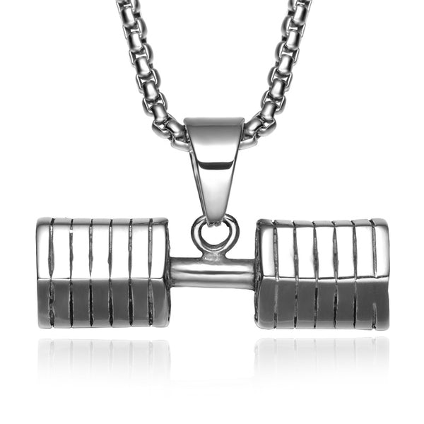 Titanium Stainless Steel Gym Dumbbell Pendant Necklaces