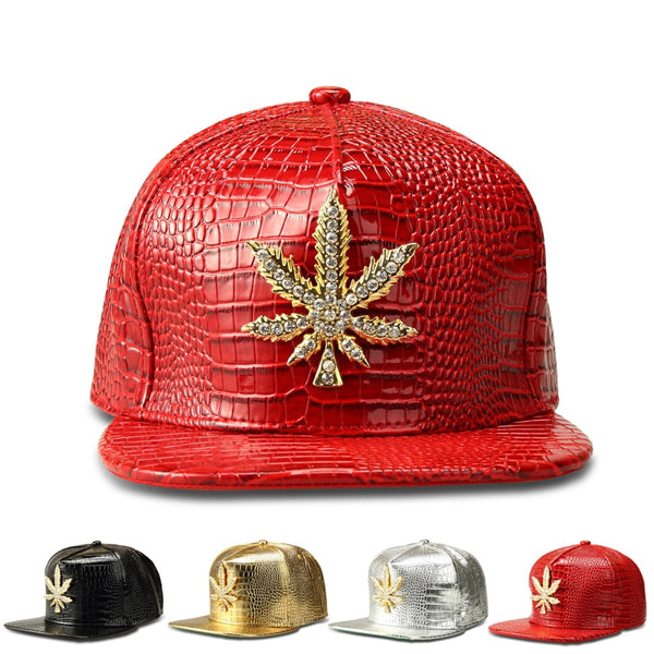 New Fashion Street Style Weed Logo Baseball Hats Gold/Silver/Red/Black