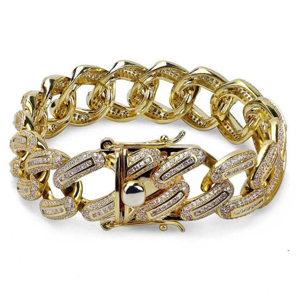 Iced Out Miami cuban link chain bling bracelet