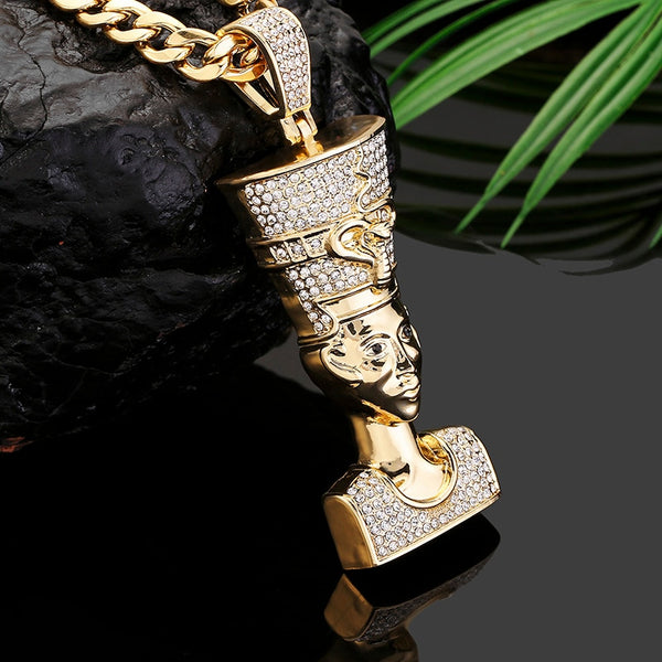 Egyptian Men Pendant Charm Crystal Gold Necklace