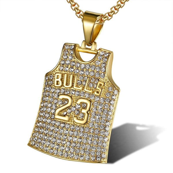 Special Unique Pendant Bulls 23 Jerseys With Chain