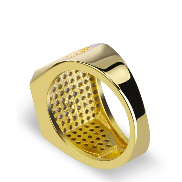 Luxury Mens Ring Micro Pave Cz Square Design