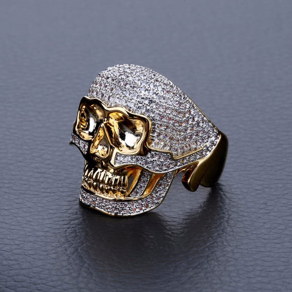 Ice Out Bling Golden Skull Ring Rings