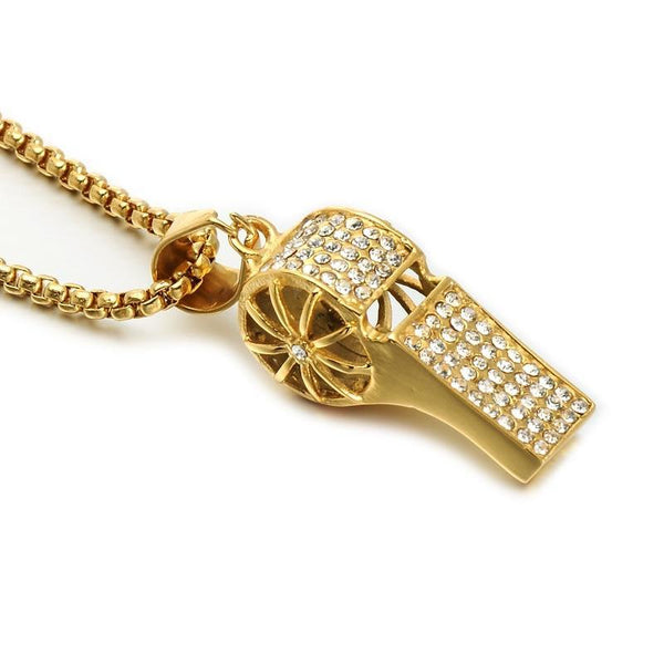 Full Rhinestone Whistle Pendant Necklace with 24 inch Stainless Steel Gold Chain