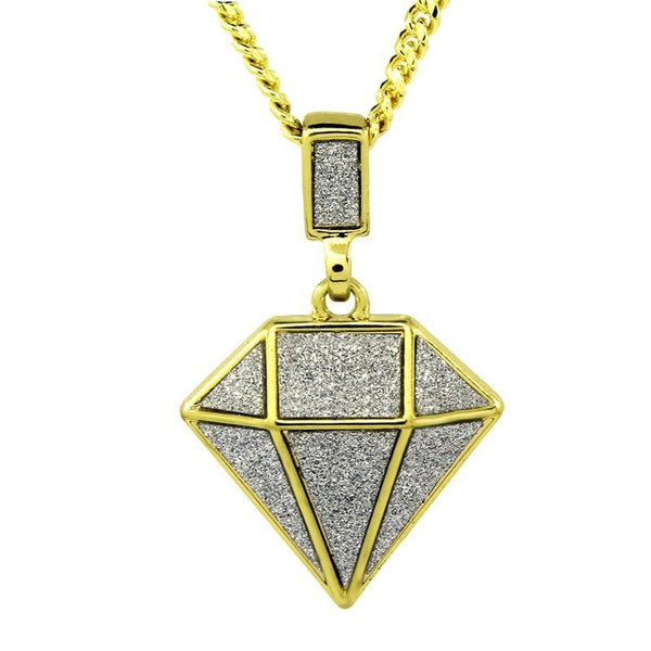 "Golden Iced Out Diamond Pendant 24"" Chain"