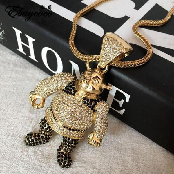 Iced Out Shrek Pendant with Golden Chain