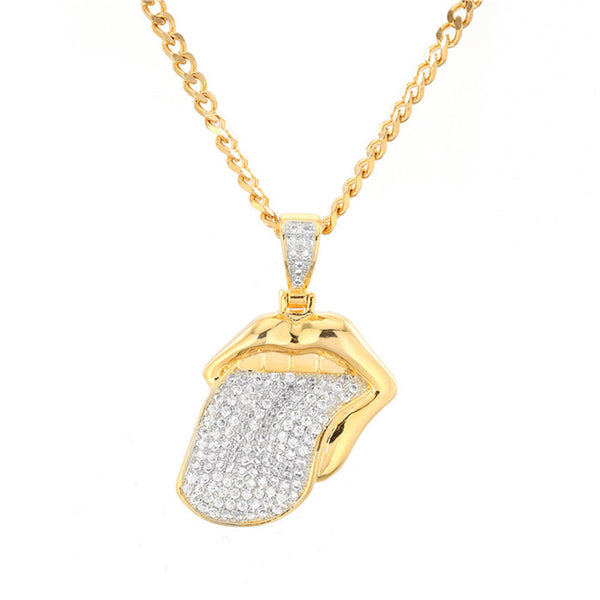 New Arrival Iced Out Tongue Zircon Pendant Necklace With Chain