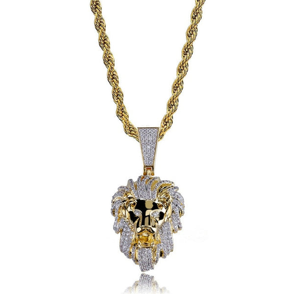 Iced Out Lion Head Pendant Necklace