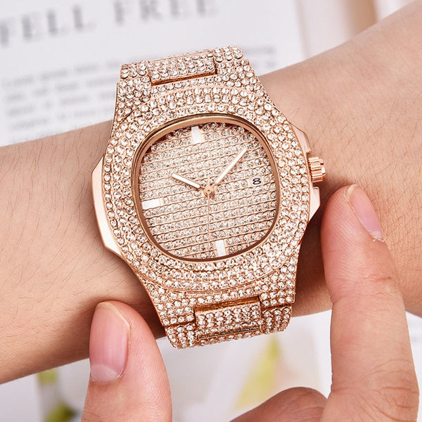 Top Brand Luxury Design Gold Diamond Watch For Men's