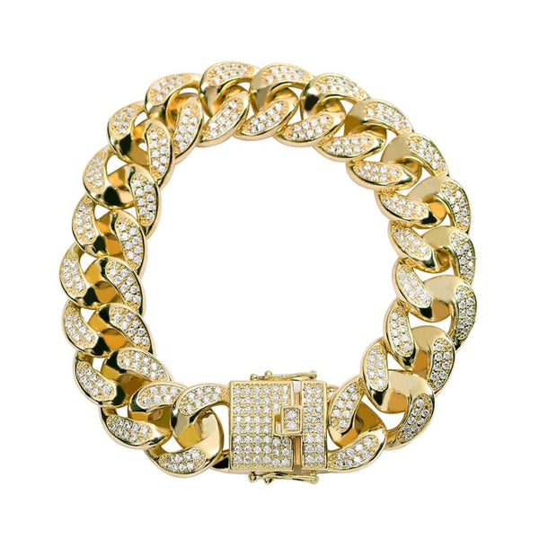 All Iced Out Cuban Chain Gold Bracelet