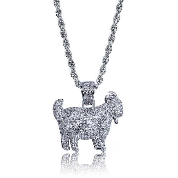 Ice Out Goat Pendant with 24 inch Twist Chain