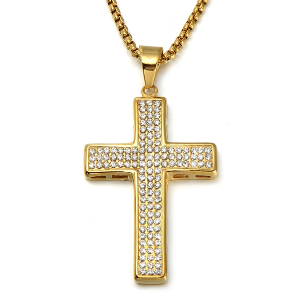 Cross Pendant Classic Iced Out Rhinestone