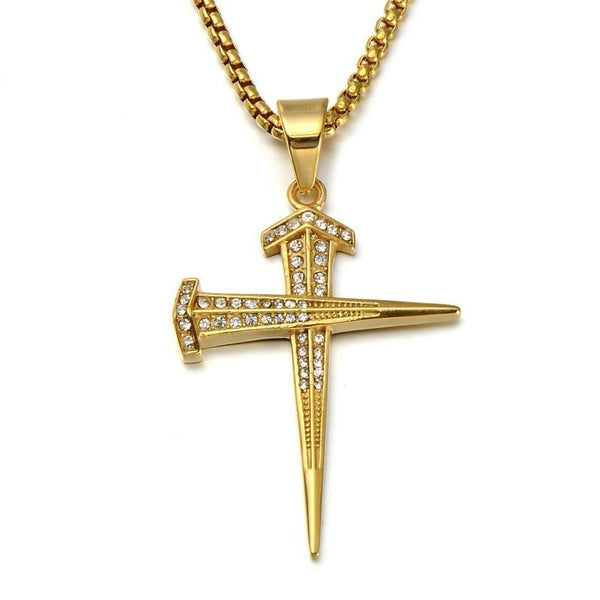Titanium Nail Cross Pendants Necklace with 24 inch Chain
