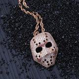 Mask Necklace Iced Out Crystal Pendant