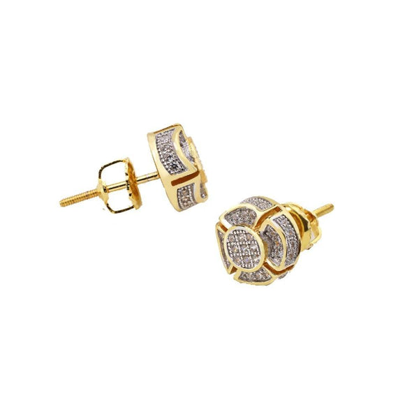 925 Sterling Silver Stud Earrings Flower Zircons Stones Gold/ Silver Color