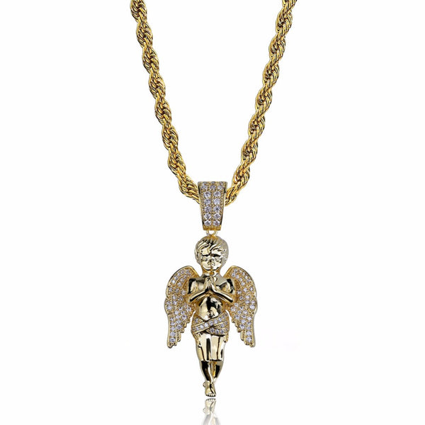 Bling Ice Out Cupid Angel Pendant Necklaces Gift