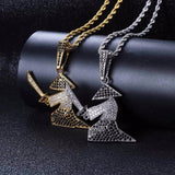 Rhinestone Samurai Oriental Warrior Pendants Necklaces